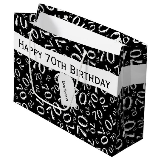 Personalise: Black/White 70th Birthday Party Large Gift Bag