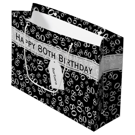 Personalise: Black/White 80th Birthday Party Large Gift Bag