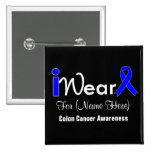 Personalise Blue Ribbon Colon Cancer Button