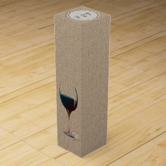 Personalise Burlap and Red Wine Art Box