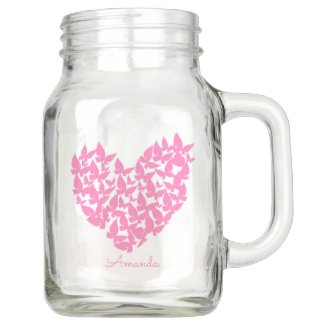 personalise butterfly heart pink mason jar