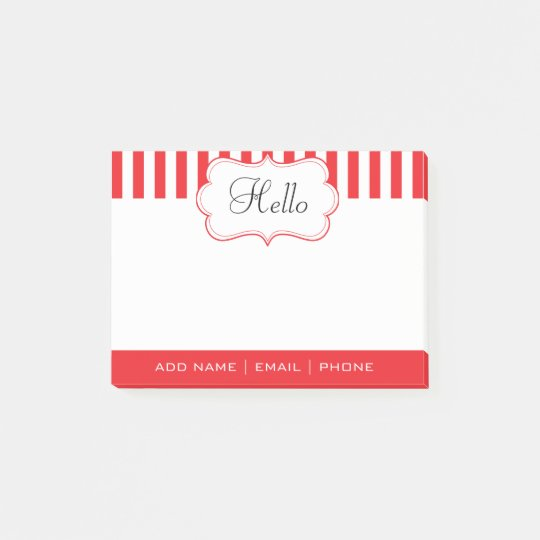Personalise Classy Poppy Red Stripes Post-it Notes