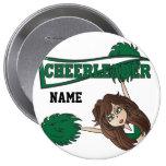 Personalise Dark Green Cheerleader Girl Badges