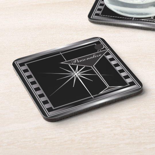 Personalise Elegant Silver Cocktail Design Coaster