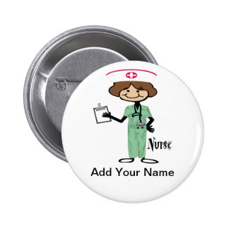 Personalise Female Nurse 6 Cm Round Badge