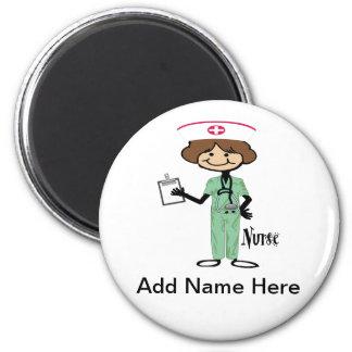 Personalise Female Nurse 6 Cm Round Magnet