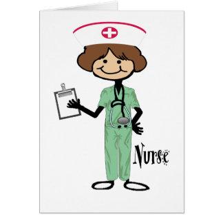 Personalise Female Nurse Greeting Card