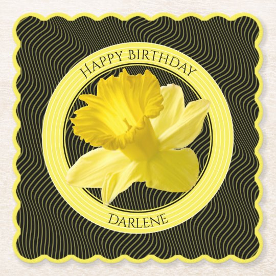 Personalise: Floral Photography Yellow Daffodil Paper Coaster