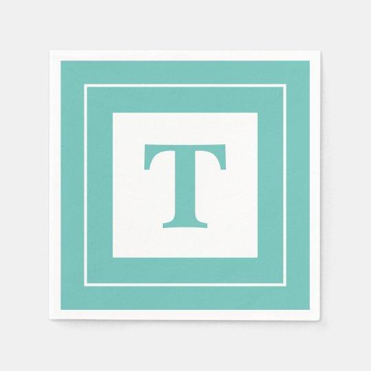 Personalise: Geometric Minimalist Teal Initial Paper Napkins