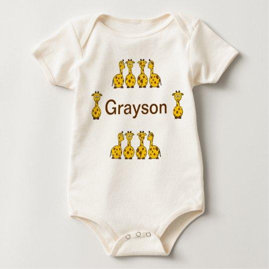 Personalise Giraffe Grayson infant baby Baby Bodysuit