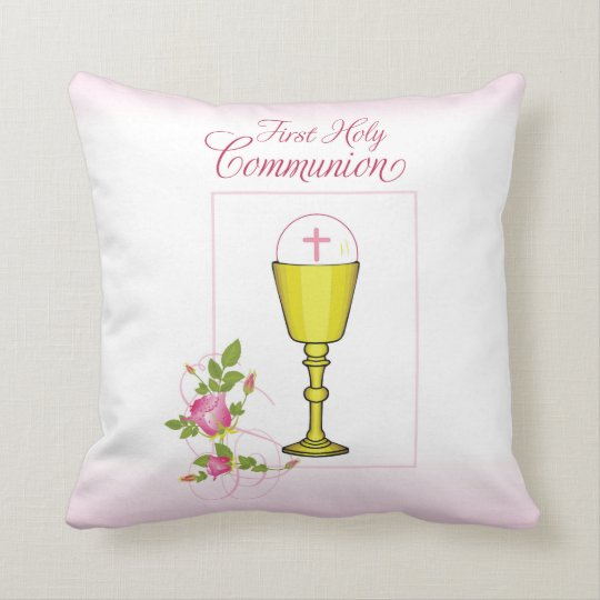 Personalise Girl Name Pink First Holy Communion Cushion