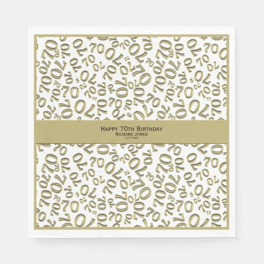 Personalise: Gold and White 70th Birthday Theme Paper