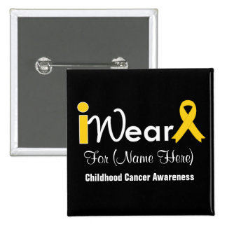 Personalise gold Ribbon Childhood Cancer 15 Cm Square Badge