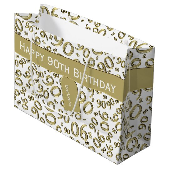Personalise: Gold/White 90th Birthday Theme Large Gift Bag