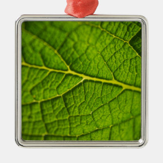 Personalise green leaf texture design photo christmas ornament