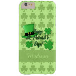 Personalise Green top hat Shamrocks St. Patricks Barely There iPhone 6 Plus Case