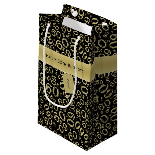 Personalise Happy 60th Birthday Black Gold S Small Gift Bag