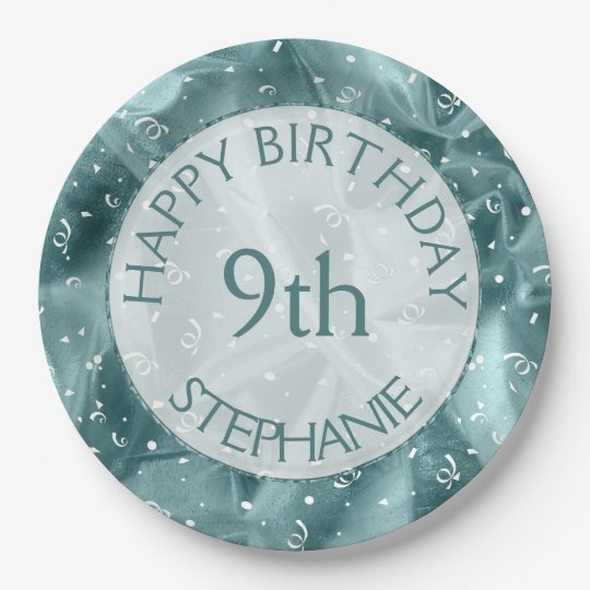"""Personalise: """"Happy Birthday"""" Aq uaTextured Paper Plate"""