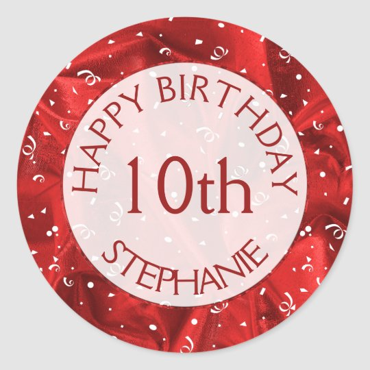 """Personalise: """"Happy Birthday"""" Red Textured Fabric Classic Round Sticker"""