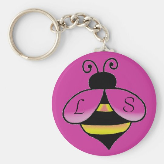 Personalise Initials / Name Cute Bee Keychain