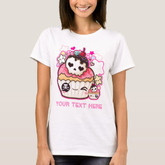 Personalise Kawaii skull cupcake T-Shirt