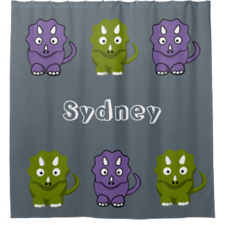Personalise Kid Any Colour Dinosaur Shower Curtain