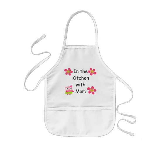 Personalise Kids Apron with Pink Owls and Flowers