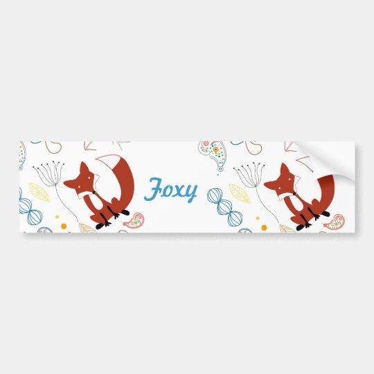 Personalise Modern Foxy  Woodland Bumper Sticker