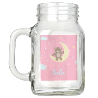personalise name cute bear sitting on moon mason jar