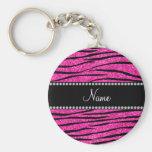 Personalise name neon hot pink glitter zebra strip