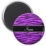Personalise name neon purple glitter zebra stripes