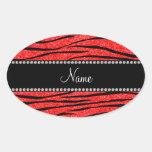 Personalise name neon red glitter zebra stripes
