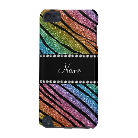 Personalise name rainbow glitter zebra stripes iPod touch