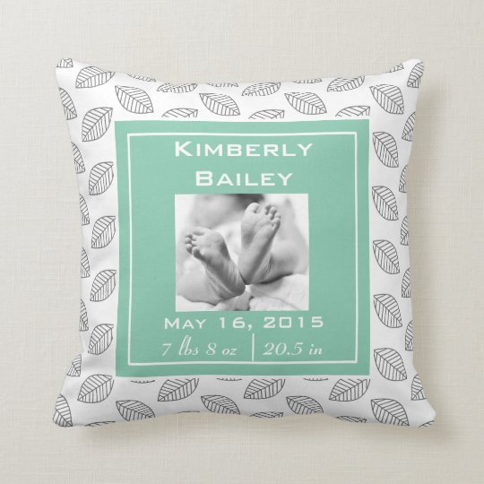 Personalise Nursery Birth Announcement, Mint Green Cushion