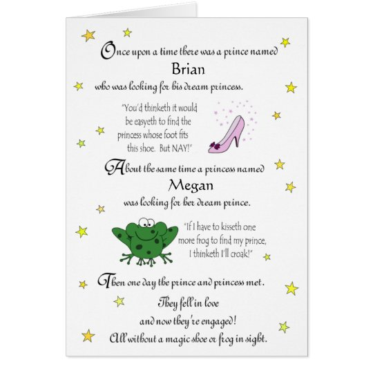 Personalise our Funny Fairy Tale Engagement Card