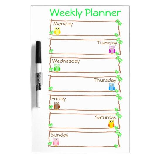 Personalise Owl Week Weekly Planner Dry Erase Board
