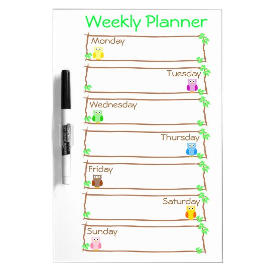 Personalise Owl Week Weekly Planner Dry-Erase Whiteboard