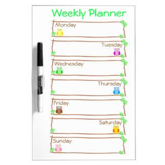 Personalise Owl Week Weekly Planner Dry-Erase Whiteboard