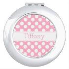 Personalise Pink Polka Dot Compact Mirror