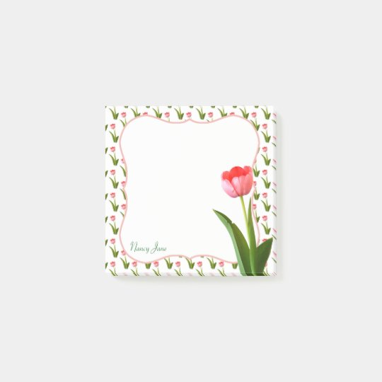 Personalise - Pink Spring Tulip Floral Photography Post-it
