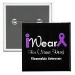 Personalise Purple Ribbon Fibromyalgia Pinback Buttons