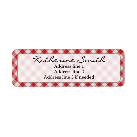 Personalise: Red and White Gingham Check Pattern Return Address Label