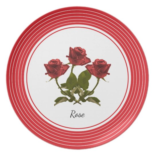 Personalise:  Red Rose Floral Photography Plate