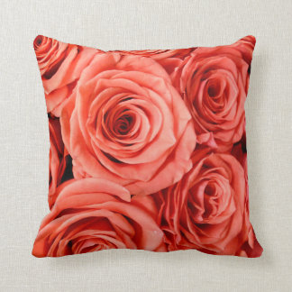 Personalise Salmon Pink Roses Square Bed Pillow