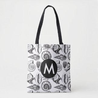 Personalise Seashells black and white tote bag