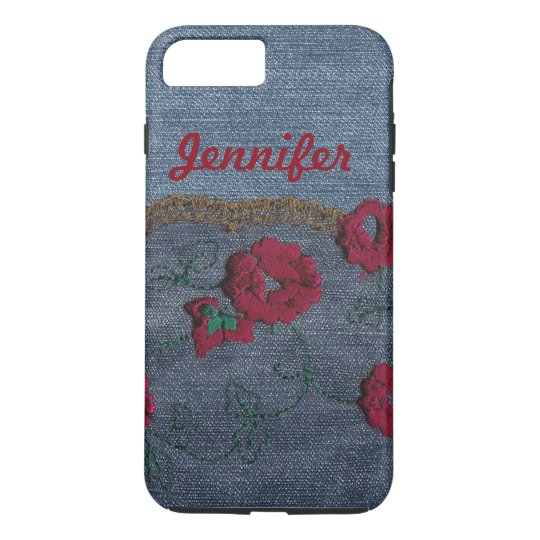 Personalise Shabby Chic Denim Rose Phone Case