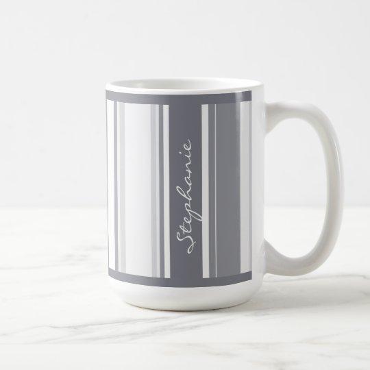 Personalise:  Shades of Grey Stripes Pattern Coffee Mug
