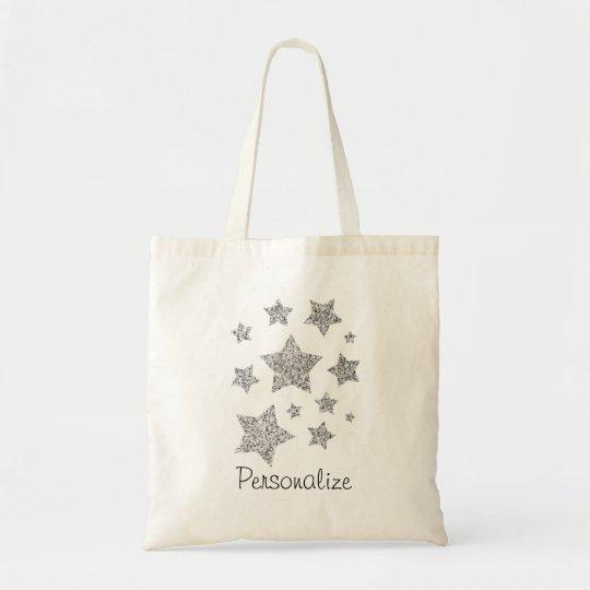 Personalise Silver glitter sparkles Stars Tote Bag