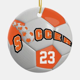 Personalise Soccer Ball | Orange Christmas Ornament