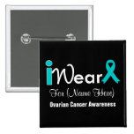 Personalise Teal Ribbon Ovarian Cancer Badges